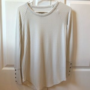 white long sleeve waffle thermal tunic sweater top